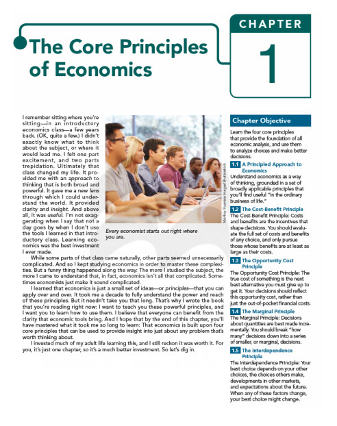 A sample cover page for chapter 1 entitled 'The Core Principles of Economics.'