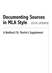 Documenting Sources in MLA Style: 2016 Update