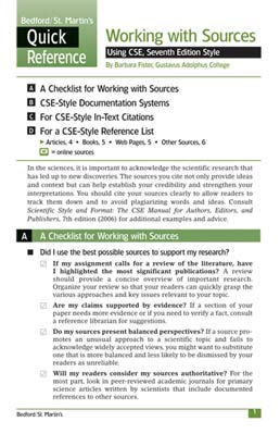 Working with Sources Using CSE Style by Bedford/St. Martin's - First Edition, 2008 from Macmillan Student Store