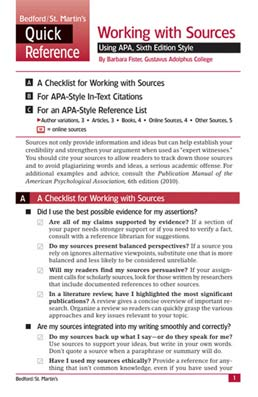 Working with Sources Using APA, Sixth Edition Style by Barbara Fister - First Edition, 2010 from Macmillan Student Store