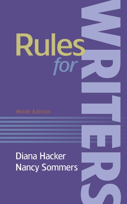 Rules for Writers by Diana Hacker; Nancy Sommers - Ninth Edition, 2019 from Macmillan Student Store
