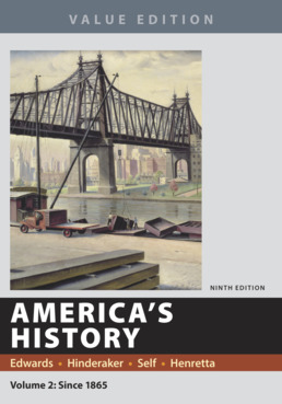 America's History, Value Edition, Volume 2 by Rebecca Edwards; Eric  Hinderaker; Robert O. Self; James A. Henretta - Ninth Edition, 2018 from Macmillan Student Store