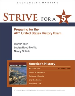 Strive for a 5 for America's History by James A. Henretta; Eric Hinderaker; Rebecca Edwards; Robert O. Self - Ninth Edition, 2018 from Macmillan Student Store