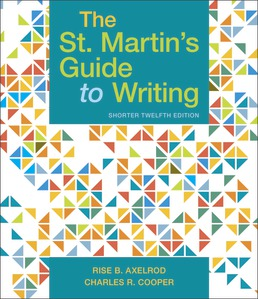 St. Martin's Guide to Writing, Short Edition by Rise B. Axelrod; Charles R. Cooper - Twelfth Edition, 2019 from Macmillan Student Store