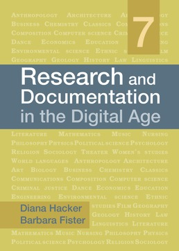 Research and Documentation in the Digital Age by Diana Hacker; Barbara Fister - Seventh Edition, 2019 from Macmillan Student Store