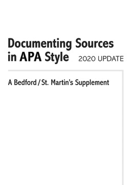 Documenting Sources in APA Style: 2020 Update by Bedford/St. Martin's - First Edition, 2020 from Macmillan Student Store