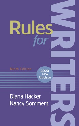 Rules for Writers with 2020 APA Update by Diana Hacker; Nancy Sommers - Ninth Edition, 2019 from Macmillan Student Store