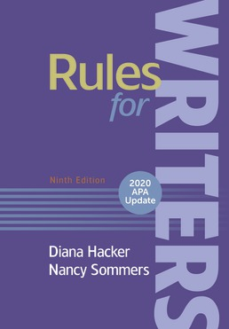 Rules for Writers with Writing About Literature, 2020 APA Update by Diana Hacker; Nancy Sommers - Ninth Edition, 2019 from Macmillan Student Store