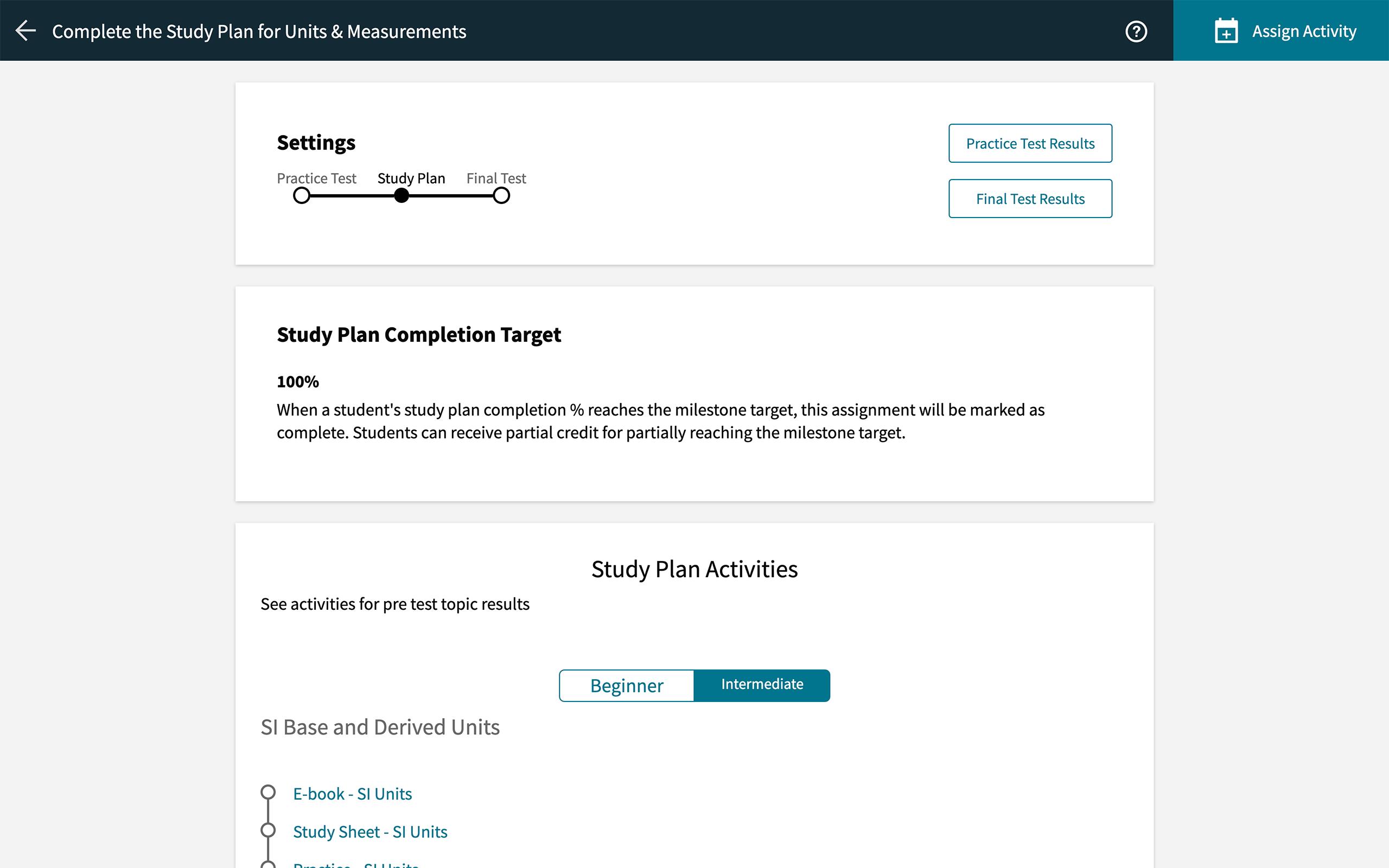 achieve study plan
