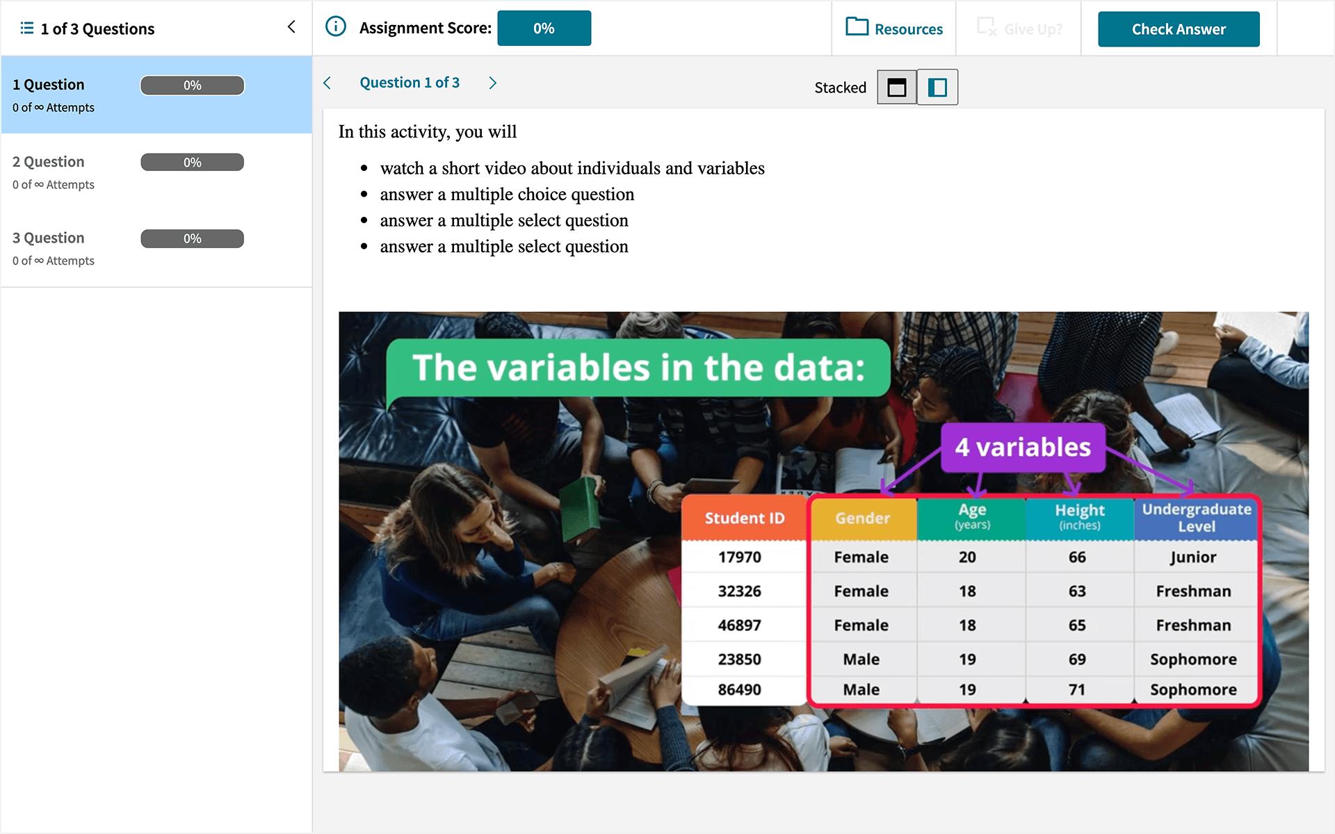 statistics assessment video