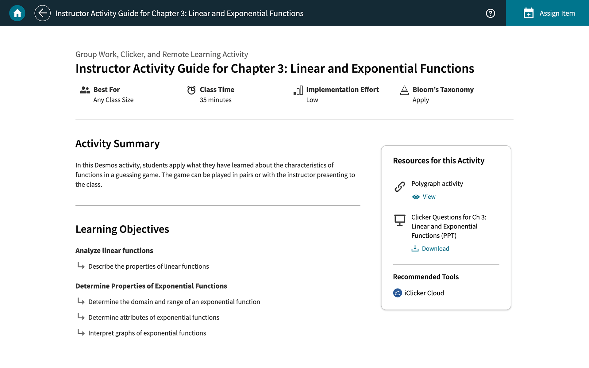 achieve instructor activity guides